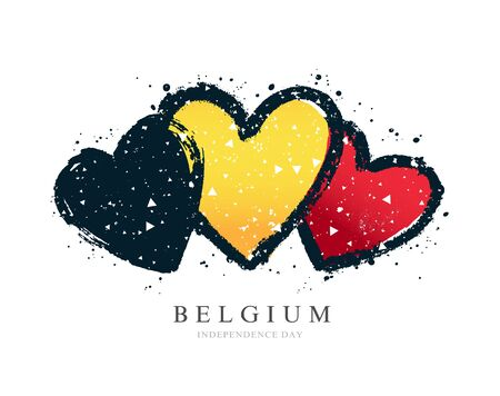 The Belgian flag in the form of three hearts. Vector illustration on a white background. Brush strokes are drawn by hand. Independence Day in Belgium.