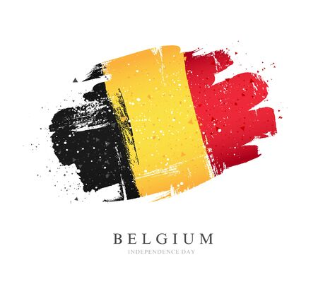Flag of Belgium. Vector illustration on a white background. Brush strokes are drawn by hand. Independence Day. Illusztráció