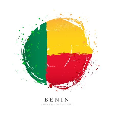 Benin flag in the shape of a big circle. Vector illustration on a white background. Brush strokes are drawn by hand. Independence Day. 일러스트