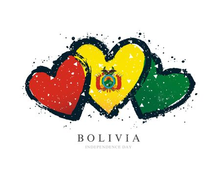 Flag of Bolivia in the form of three hearts. Vector illustration on a white background. Brush strokes are drawn by hand. Independence Day. Ilustrace