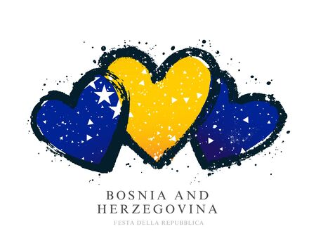Flag of Bosnia and Herzegovina in the form of three hearts. Vector illustration on a white background. Brush strokes are drawn by hand. Independence Day.