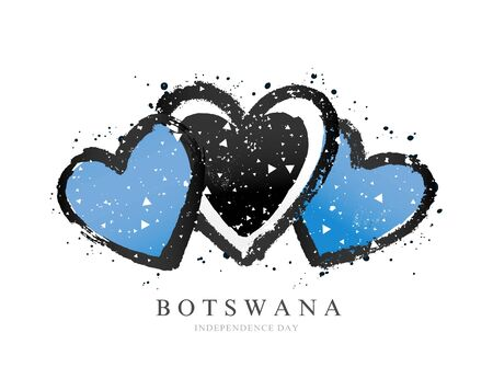 Flag of Botswana in the form of three hearts. Vector illustration on a white background. Brush strokes are drawn by hand. Independence Day.