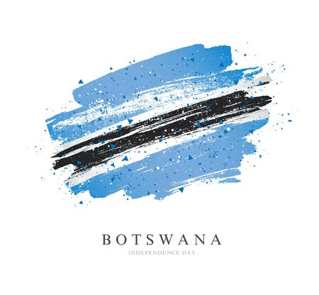 Flag of Botswana. Vector illustration on a white background. Brush strokes are drawn by hand. Independence Day.