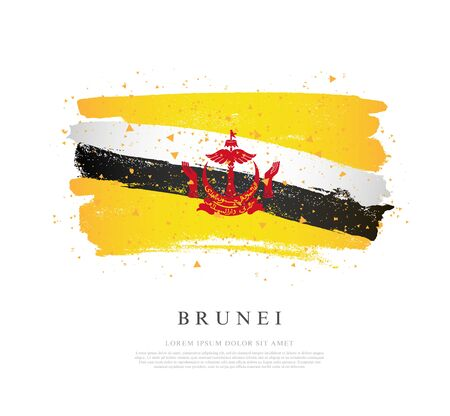 Flag of Brunei. Vector illustration on a white background. Brush strokes are drawn by hand. Independence Day.