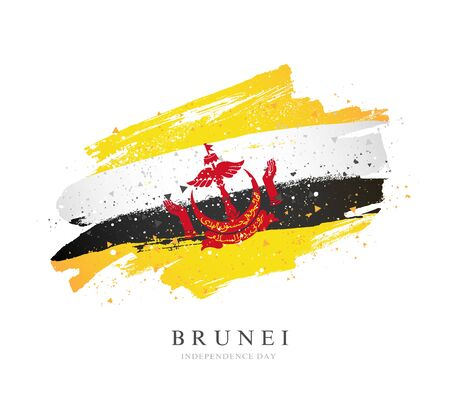 Flag of Brunei. Vector illustration on a white background. Brush strokes are drawn by hand. Independence Day. 矢量图像