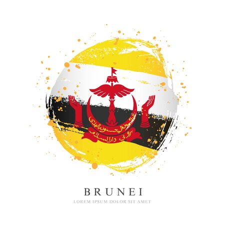 Brunei flag in the shape of a big circle. Vector illustration on a white background. Brush strokes are drawn by hand. Independence Day.