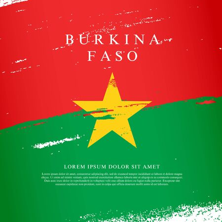 Flag of Burkina Faso. Vector illustration on a white background. Brush strokes are drawn by hand. Independence Day.