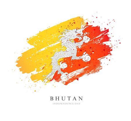 Flag of Bhutan. Vector illustration on a white background. Brush strokes are drawn by hand. Independence Day.