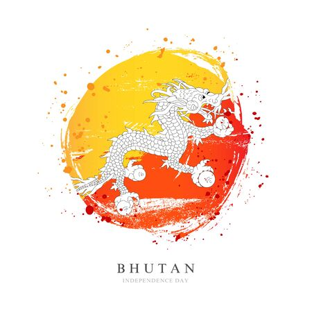Bhutan flag in the shape of a big circle. Vector illustration on a white background. Brush strokes are drawn by hand. Independence Day.