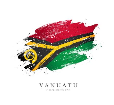 Flag of Vanuatu. Vector illustration on a white background. Brush strokes are drawn by hand. Independence Day.
