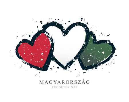 Hungarian flag in the form of three hearts. Vector illustration on a white background. Brush strokes are drawn by hand. Hungary Independence Day. Illusztráció