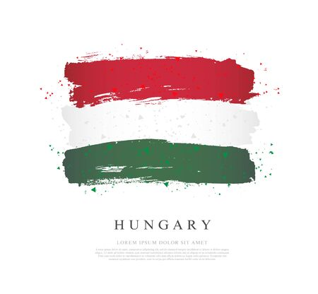 Flag of Hungary. Vector illustration on a white background. Brush strokes are drawn by hand. Independence Day. Illusztráció