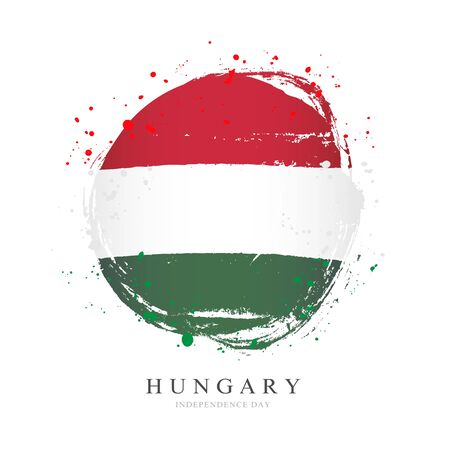 Hungarian flag in the shape of a big circle. Vector illustration on a white background. Brush strokes are drawn by hand. Hungary Independence Day.