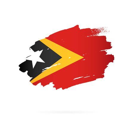 Flag of East Timor. Vector illustration on a white background. Brush strokes are drawn by hand. Illusztráció