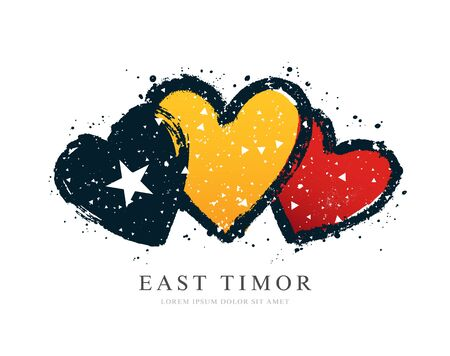 Flag of East Timor in the form of three hearts. Vector illustration on a white background. Brush strokes are drawn by hand. Independence Day. Illusztráció