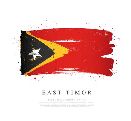 Flag of East Timor. Vector illustration on a white background. Brush strokes are drawn by hand. Independence Day.