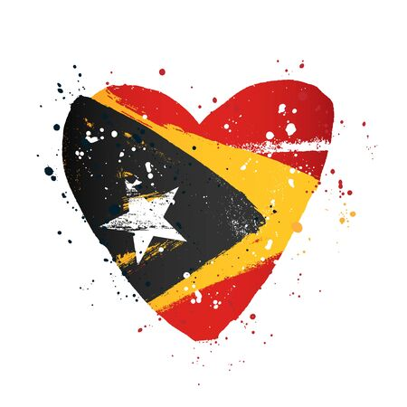 Flag of East Timor in the form of a big heart. Vector illustration on a white background. Brush strokes are drawn by hand. Independence Day.
