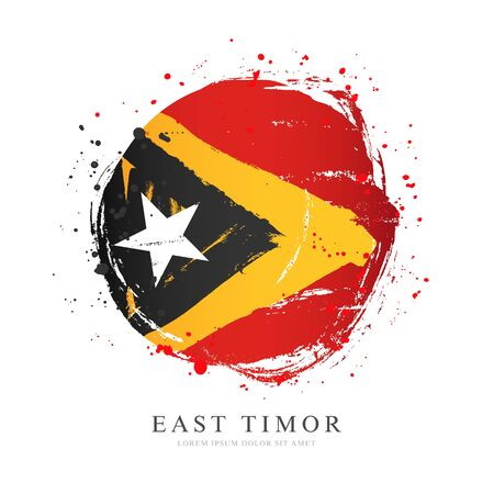 Flag of East Timor in the shape of a large circle. Vector illustration on a white background. Brush strokes are drawn by hand. Independence Day.