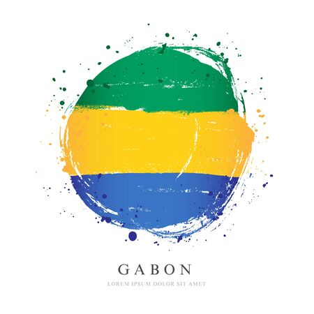 Gabon flag in the shape of a big circle. Vector illustration on a white background. Brush strokes are drawn by hand. Independence Day.