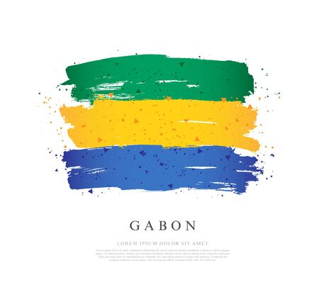 Flag of Gabon. Vector illustration on a white background. Brush strokes are drawn by hand. Independence Day. Illusztráció