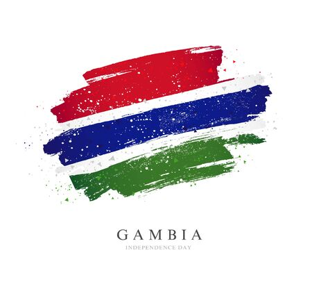 Gambia flag. Vector illustration on a white background. Brush strokes are drawn by hand. Independence Day.