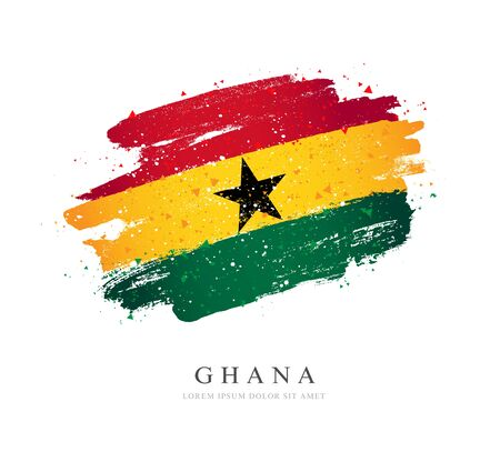 Ghana flag. Vector illustration on a white background. Brush strokes are drawn by hand. Independence Day.
