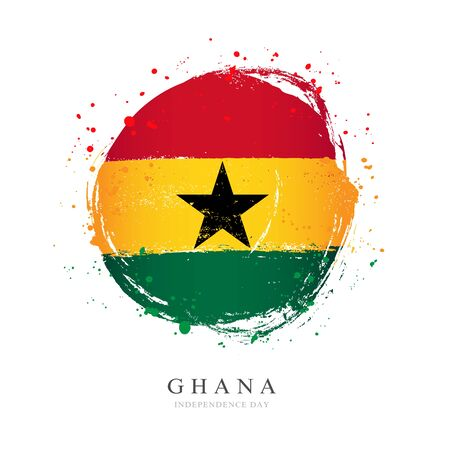 Ghana flag in the shape of a big circle. Vector illustration on a white background. Brush strokes are drawn by hand. Independence Day.