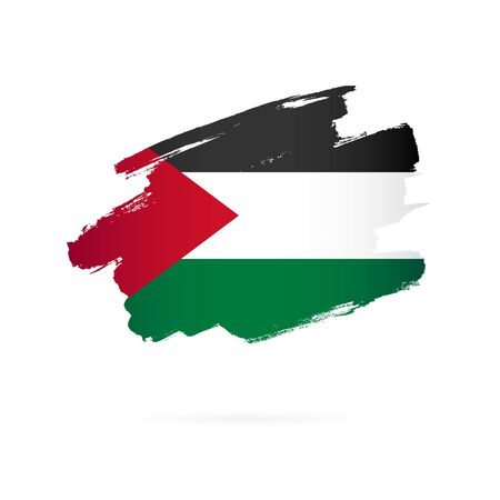 Palestinian flag. Vector illustration on a white background. Brush strokes are drawn by hand. Palestine Independence Day.