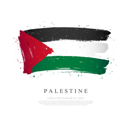 Flag of Palestine. Vector illustration on a white background. Brush strokes are drawn by hand. Independence Day.