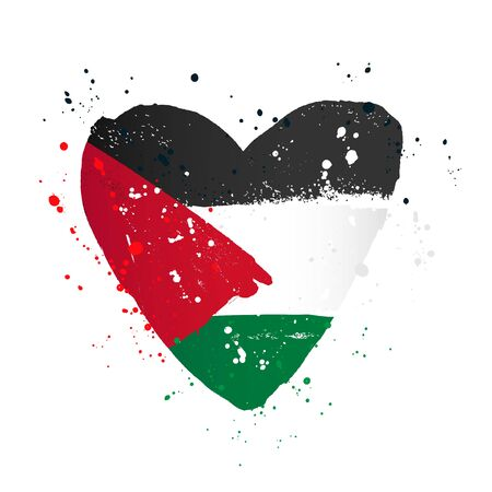 Palestinian flag in the form of a big heart. Vector illustration on a white background. Brush strokes are drawn by hand. Palestine Independence Day.