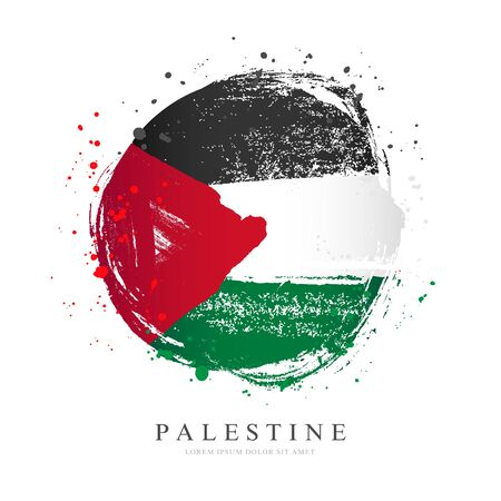 Palestinian flag in the shape of a big circle. Vector illustration on a white background. Brush strokes are drawn by hand. Palestine Independence Day.Vector illustration on a white background. Brush strokes are drawn by hand. Palestine Independence Day. Imagens - 129089588