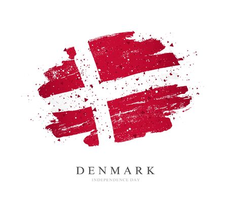 Flag of Denmark. Vector illustration on a white background. Brush strokes are drawn by hand. Independence Day.