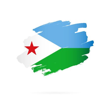 Flag of Djibouti. Vector illustration on a white background. Brush strokes are drawn by hand. 일러스트