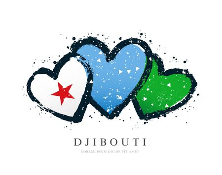 Djibouti flag in the form of three hearts. Vector illustration on a white background. Brush strokes are drawn by hand. Independence Day.