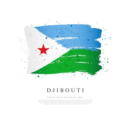 Flag of Djibouti. Vector illustration on a white background. Brush strokes are drawn by hand. Independence Day.