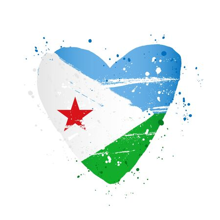 Djibouti flag in the form of a big heart. Vector illustration on a white background. Brush strokes are drawn by hand. Independence Day.
