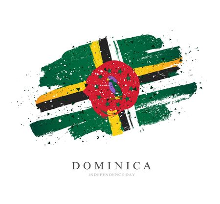 Flag of Dominica. Vector illustration on a white background. Brush strokes are drawn by hand. Independence Day.