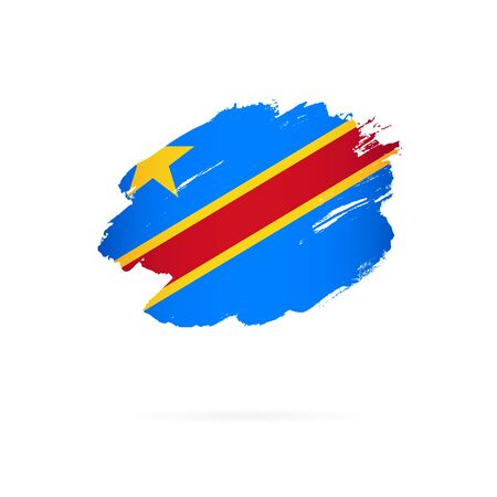 Flag of the Democratic Republic of the Congo. Vector illustration on a white background. Brush strokes are drawn by hand.