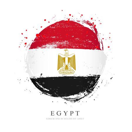 Drapeau égyptien en forme de grand cercle. Illustration vectorielle sur fond blanc. Les coups de pinceau sont dessinés à la main. Jour de la Révolution en Egypte. Vecteurs