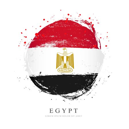 Egyptian flag in the shape of a big circle. Vector illustration on a white background. Brush strokes are drawn by hand. Revolution Day in Egypt.