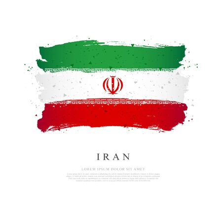 Flag of Iran. Vector illustration on a white background. Brush strokes are drawn by hand. Independence Day.