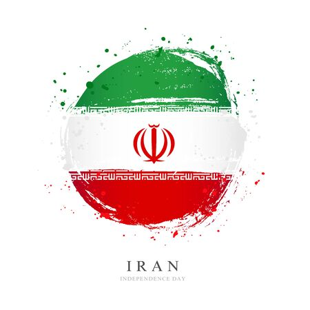 Iranian flag in the shape of a big circle. Vector illustration on a white background. Brush strokes are drawn by hand. Iran Independence Day.