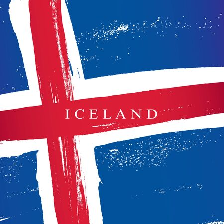 Flag of Iceland. Vector illustration on a white background. Brush strokes are drawn by hand. Independence Day.