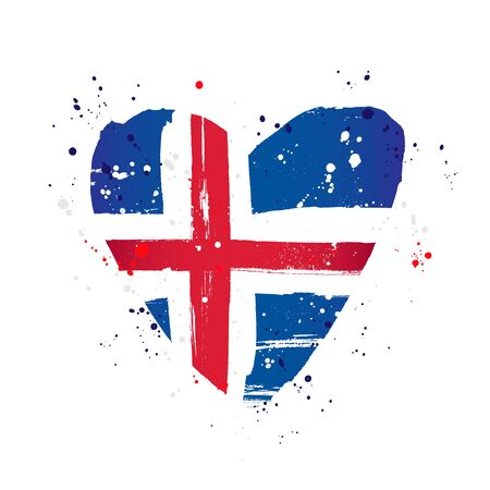 Icelandic flag in the form of a big heart. Vector illustration on a white background. Brush strokes are drawn by hand. Iceland Independence Day.
