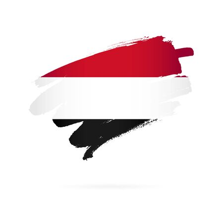 Flag of Yemen. Vector illustration on a white background. Brush strokes are drawn by hand. Иллюстрация