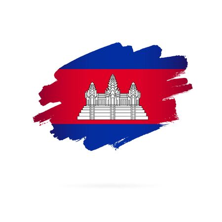 Cambodian flag. Vector illustration on a white background. Brush strokes are drawn by hand. Cambodia Independence Day.