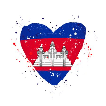 Cambodian flag in the form of a big heart. Vector illustration on a white background. Brush strokes are drawn by hand. Cambodia Independence Day.