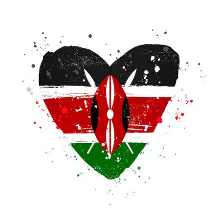 Kenyan flag in the form of a big heart. Vector illustration on a white background. Brush strokes are drawn by hand. Kenya Independence Day.