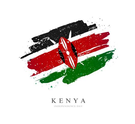 Kenya flag. Vector illustration on a white background. Brush strokes are drawn by hand. Independence Day.