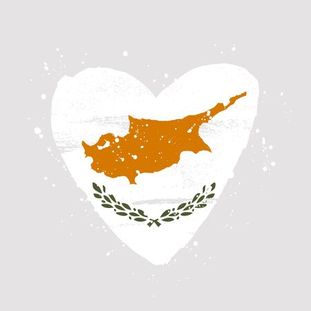 Cyprus flag in the form of a big heart. Vector illustration on a gray background. Brush strokes are drawn by hand. Cyprus Independence Day.